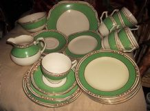 RARE DECO GEORGE JONES CRESCENT & BISHOP 4753 GREEN 6 X TRIOS CAKE SUGAR MILK 27